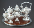 Silver Holloware, American:Tea Sets, A SEVEN PIECE SHREVE SILVER TEA AND COFFEE SERVICE WITH MARQUETRYTRAY. Shreve & Co., circa 1910. Marks: SHREVE & CO.,STE... (Total: 7 Items)