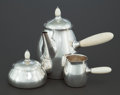 Silver Holloware, Continental:Holloware, A THREE PIECE GEORG JENSEN SILVER AND BONE COFFEE SERVICE. GeorgJensen, Inc., Copenhagen, Denmark, post 1945. Marks: GEOR...(Total: 3 Items)