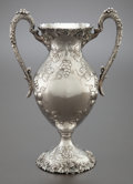 Silver Holloware, American:Vases, AN AMERICAN SILVER REPOUSSÉ TWO-HANDLED VASE . Circa 1900. Marks:UDALL & BALLOU, STERLING, 3095, 12 IN. 13-1/4 inchesh...