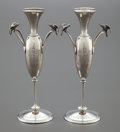Silver Holloware, American:Vases, A PAIR OF GORHAM SILVER FIGURAL TWO-HANDLED VASES. GorhamManufacturing Co., Providence, Rhode Island, circa 1871. Marks:(... (Total: 2 Items)