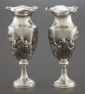 Silver & Vertu:Hollowware, A PAIR OF CHINESE EXPORT SILVER VASES . Canton maker S, circa 1870. Marks: S, 85, (maker's marks). 8 inches high (20.3 c... (Total: 2 Items)