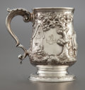 Silver Holloware, British:Holloware, A GEORGE III SILVER REPOUSSÉ HANDLED CUP . Newcastle, England,circa 1780-1781. Marks: (lion passant), (leopard's head crown...