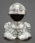 Silver Smalls:Other , AN AMERICAN SILVER FIGURAL INKWELL WITH GLASS LINER. Circa 1900.Marks: (man in profile-anchor-O), STERLING. 4-1/2 inche...
