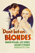 "Movie Posters:Comedy, Don't Bet on Blondes (Warner Brothers, 1935). One Sheet (27"" X41"").. ..."