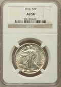 Walking Liberty Half Dollars: , 1916 50C AU58 NGC. NGC Census: (94/997). PCGS Population(144/1166). Mintage: 608,000. Numismedia Wsl. Price for problemfr...