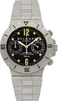 Timepieces:Wristwatch, Bulgari Ref. SCB 38 Steel Diver's Chronograph. ...