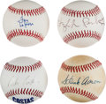Autographs:Baseballs, Single Signed Baseballs Lot of 4 from The Stan Musial Collection....