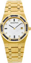 Timepieces:Wristwatch, Audemars Piguet Gold Royal Oak With Sapphires, Mother-of-Pearl Dial. ...