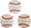 Autographs:Baseballs, 1980's Mickey Mantle Single Signed Baseballs from The Stan Musial Collection....
