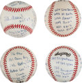 "Autographs:Baseballs, Stan Musial Single Signed ""Statistics"" Baseballs Lot of 4...."