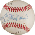 Autographs:Baseballs, 1992 Stan Musial, James Michener & Luciano Pavarotti SignedBaseball from The Stan Musial Collection....