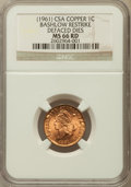 Civil War Tokens, (1961) Confederate States of America Cent, Bashlow Restrike,Copper, Defaced Dies, MS66 Red NGC....