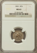 Three Cent Nickels: , 1865 3CN MS63 NGC. NGC Census: (392/697). PCGS Population(516/661). Mintage: 11,382,000. Numismedia Wsl. Price forproblem...