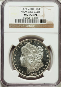 1878 7/8TF $1 VAM-41A, 7/4 Tail Feather Weak MS65 Deep Mirror Prooflike NGC. NGC Census: (0/0). PCGS Population (3/0)...
