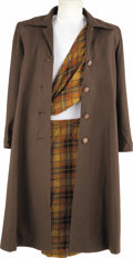 "Movie/TV Memorabilia:Costumes, Sheila Gish's ""Highlander: Endgame"" Costume. A brown wool trench coat with matching tartan skirt and scarf, worn by actress ... (Total: 1 Item)"