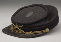 1890's STYLE KEPI - Blue wool body with bound brim. Brown polished cotton lining with a very interesting cloth sweat ban...
