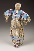 American Indian Art:Beadwork, A SIOUX BEADED HIDE FEMALE DOLL. . c. 1890...