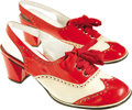 Movie/TV Memorabilia:Costumes, Mamie Van Doren Shoes From Her Personal Wardrobe. A pair of Italianred-and-white patent leather ladies' sling-back Oxfords,... (Total:1 Item)
