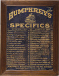 "Antiques:Decorative Americana, HUMPHREY'S SPECIFICS CABINET DOOR - Lithographed tin and oak doorfrom a Humphrey's medicine cabinet. 26"" x 26"". Condit..."