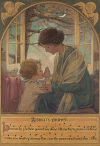 JESSIE WILLCOX SMITH (American, 1863-1935) A Child's Prayer, book cover, 1925 Mixed media on board