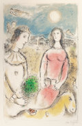 Prints:European Modern, MARC CHAGALL (Belorussian, 1887-1985). Le Couple auCrépuscule, 1980. Lithograph in colors on Arches paper. 37 x23-1/2 ...