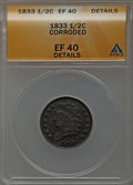 Half Cents: , 1833 1/2 C -- Corroded -- ANACS. XF40 Details. NGC Census:(12/419). PCGS Population (33/472). Mintage: 120,000. Numismedia...
