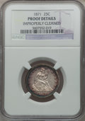 Proof Seated Quarters: , 1871 25C -- Improperly Cleaned -- NGC Details. Proof. NGC Census:(2/108). PCGS Population (5/131). Mintage: 960. Numismedi...