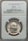 Commemorative Silver: , 1927 50C Vermont MS65 NGC. NGC Census: (768/219). PCGS Population(916/353). Mintage: 28,142. Numismedia Wsl. Price for pro...