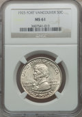 Commemorative Silver: , 1925 50C Vancouver MS61 NGC. NGC Census: (16/2078). PCGS Population(25/2920). Mintage: 14,994. Numismedia Wsl. Price for p...