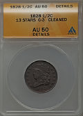 Half Cents: , 1828 1/2 C 13 Stars -- Cleaned -- ANACS. AU50 Details. C-3. NGCCensus: (27/650). PCGS Population (78/524). Mintage: 606,0...