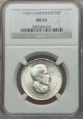 Commemorative Silver: , 1936-D 50C Cincinnati MS65 NGC. NGC Census: (514/259). PCGSPopulation (591/348). Mintage: 5,005. Numismedia Wsl. Price for...