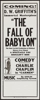 "The Fall of Babylon/Charlie Chaplin in Carmen (David W. Griffith Corp., R-Late 1920s). Broadside (11"" X 28"")..."