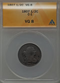 Half Cents: , 1807 1/2 C VG8 ANACS. C-1. NGC Census: (9/211). PCGS Population(6/251). Mintage: 476,000. Numismedia Wsl. Price for probl...