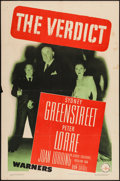 "Movie Posters:Film Noir, The Verdict (Warner Brothers, 1946). One Sheet (27"" X 41""). Film Noir.. ..."