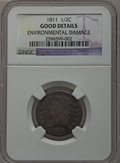 Half Cents: , 1811 1/2 C -- Environmental Damage -- NGC Details. Good. NGCCensus: (5/45). PCGS Population (6/143). Mintage: 63,140. Numi...