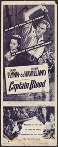 "Movie Posters:Adventure, Captain Blood and Other Lot (Warner Brothers, R-1951). Insert (14""X 36"") and Uncut Lobby Card Sheet of 4 (22"" X 28""). Adven...(Total: 2 Items)"