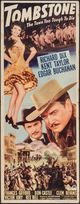 """Tombstone: The Town Too Tough to Die (Paramount, 1942). Insert (14"""" X 36""""). Western"""