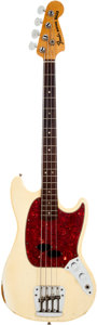 Musical Instruments:Bass Guitars, 1966 Fender Mustang Olympic White Bass Guitar, Serial # 174235. ...