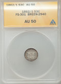 Three Cent Silver, 1862/1 3CS AU50 ANACS. FS-301 Breen 2940. NGC Census: (1/307). PCGSPopulation (1/392). Mintage: 343,000. Numismedia Wsl. ...