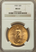 Saint-Gaudens Double Eagles: , 1920 $20 MS63 NGC. NGC Census: (1429/414). PCGS Population(1980/822). Mintage: 228,250. Numismedia Wsl. Price for problem ...