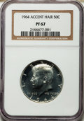 Proof Kennedy Half Dollars: , 1964 50C Accented Hair PR67 NGC. NGC Census: (2525/1442). PCGSPopulation (912/428). Numismedia Wsl. Price for problem fre...