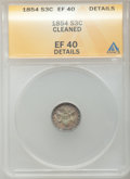 Three Cent Silver: , 1854 3CS -- Cleaned -- ANACS. XF40 Details. NGC Census: (8/333). PCGS Population (12/379). Mintage: 671,000. Numismedia Wsl...