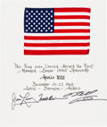 Explorers:Space Exploration, Apollo 8 Flown American Flag on a Crew-Signed Mat Directly from the Personal Collection of Mission Command Module Pilot James ...