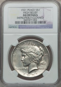 Peace Dollars, 1921 $1 High Relief -- Improperly Cleaned -- NGC Details. AU. NGCCensus: (186/11457). PCGS Population (326/13164). Mintage...