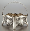 Silver Holloware, Continental, A GERMAN SILVER BASKET WITH GLASS LINER. Probably Otto Wolter,Schwäbisch, Gmünd, Germany, circa 1900. Marks: (crescent-crow...