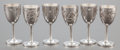 Silver Smalls:Other , A SET OF SIX CASED ASIAN SILVER GOBLETS . Circa 1910. Marks:JADE GREEN SILVER. 3-1/2 inches high (8.9 cm). 7.5 ounces.... (Total: 6 Items)