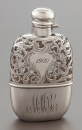 Silver Holloware, American:Flasks, AN ALVIN SILVER OVERLAY AND GLASS FLASK. Alvin Corporation,Providence, Rhode Island, circa 1900. Marks: A, STERLING,3/16...