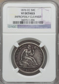 Seated Half Dollars: , 1876-CC 50C -- Improperly Cleaned -- NGC Details. VF. NGC Census:(2/142). PCGS Population (4/250). Mintage: 1,956,000. Num...