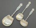 Silver & Vertu:Flatware, THREE WHITING DRESDEN PATTERN ENAMELED SILVER GILT SPOONS. Whiting Manufacturing Company, New York, New York, de... (Total: 3 Items)