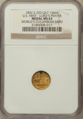 Expositions and Fairs, 1893 World's Columbian Exposition, U.S. Mint, Lord's Prayer, MS63NGC. Eglit-253. 13 mm, Gilt....